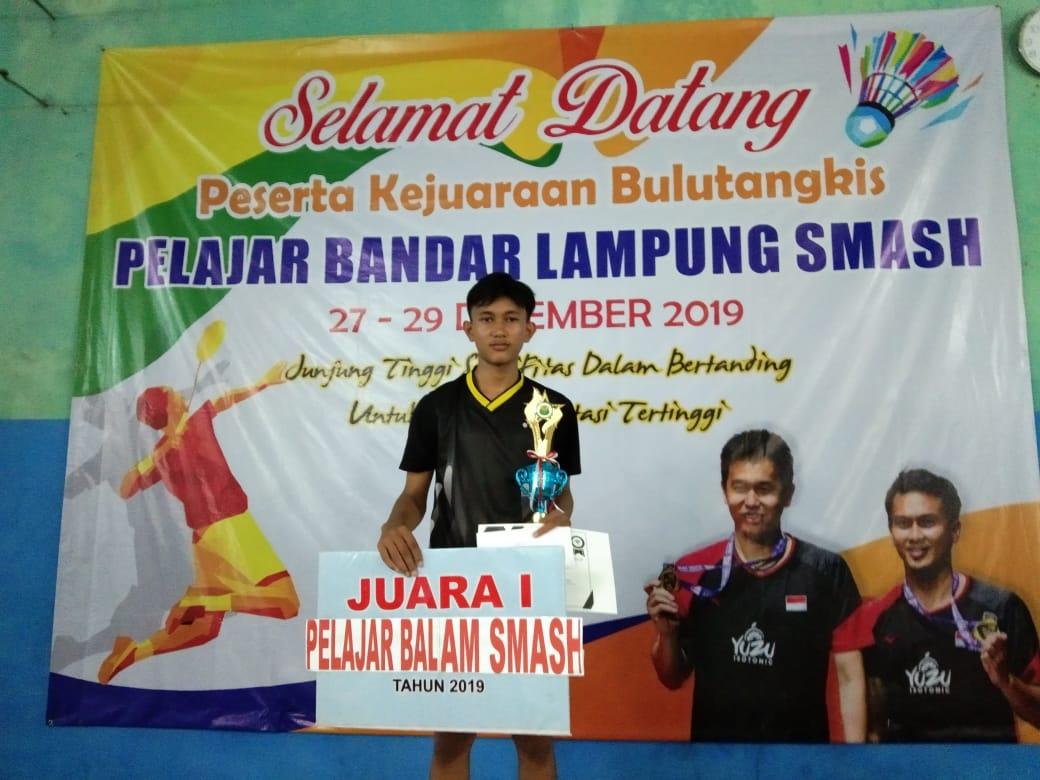 Juara 1 Kejuaraan Bulu Tangkis Pelajar Bandar Lampung